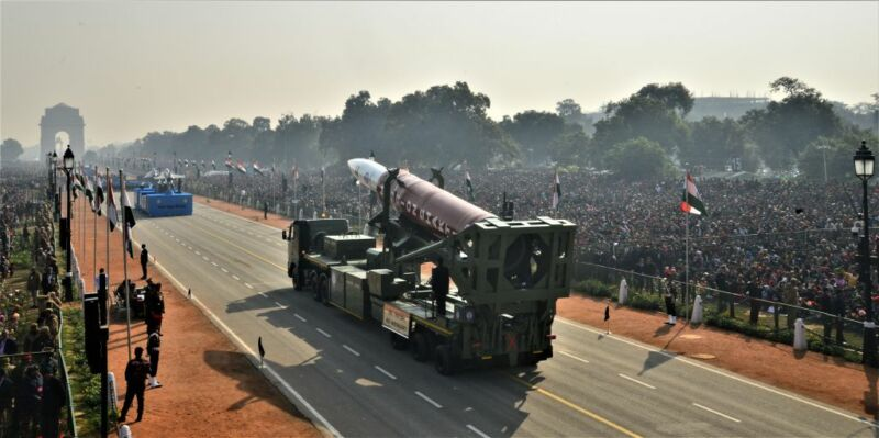 Anti-Satellite Weapons from Mission Shakti are displayed during Republic Day Parade on January 26, 2020 in New Delhi, India.