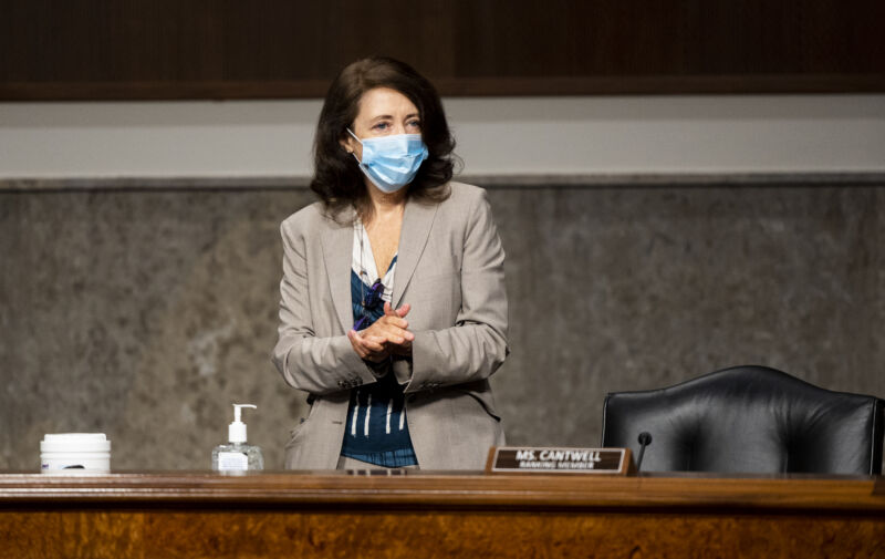 Sen. Maria Cantwell (D-Wash.) at a Senate hearing on The State of Broadband Amid the COVID-19 Pandemic, on Wednesday, May 13, 2020.