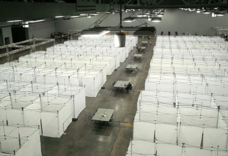 Some 250 Covid-19 isolation bays stand at the ready at the Austin Convention Center on August 07, 2020 in Austin, Texas. The cavernous facility was prepared for use as a field hospital for Covid-19 patients.