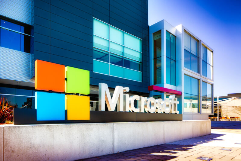 Microsoft sign at the entrance of their Silicon Valley campus in Mountain View, California.