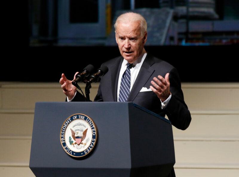 US Vice President Joe Biden speaks during a public memorial service for former astronaut and US Senator John Glenn at Ohio State University on December 17, 2016.