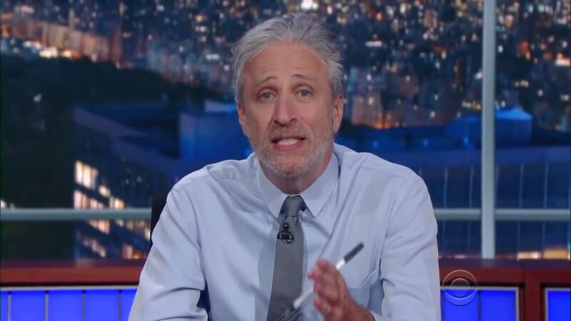 Jon Stewart appears in a segment on <em>The Late Show with Stephen Colbert</em> post-<em>Daily Show</em> retirement.
