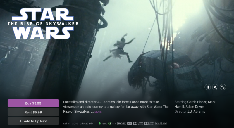 Apple TV pages for films like <em>Star Wars: Rise of Skywalker</em> now claim 4K, Dolby Vision, and Dolby Atmos support.