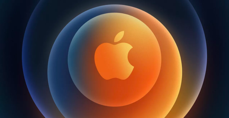 AN APPLE LOGO IS SURROUNDED BY COLORFUL CONCENTRIC CIRCLES.