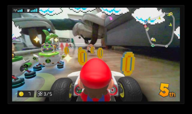 The mixed reality kart racer <em>Mario Kart Live: Home Circuit</em>.