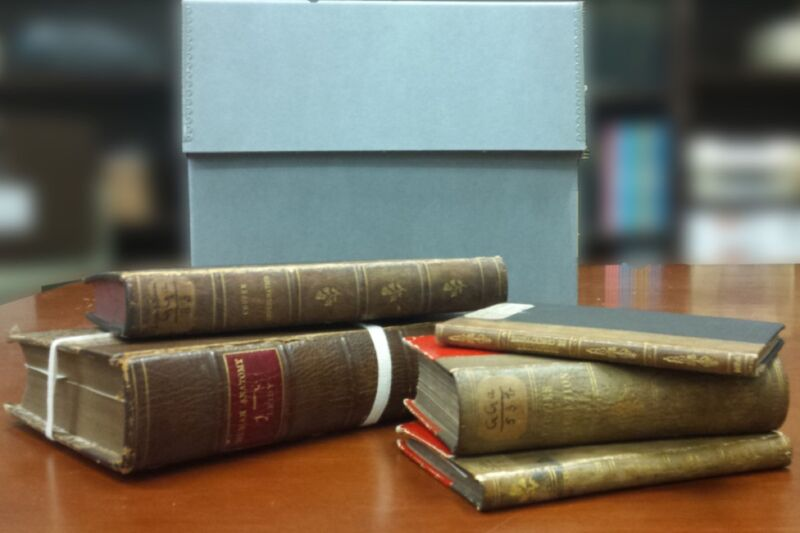 These might look like your standard leather-bound texts, but they are actually bound in human skin—a practice known as