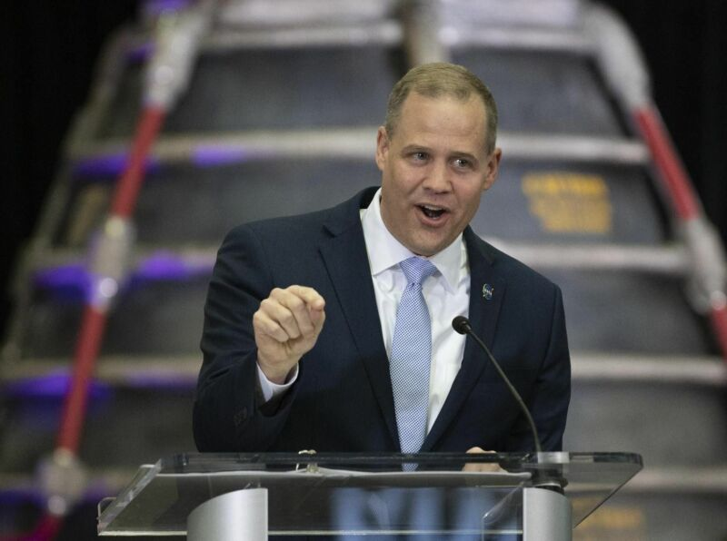 NASA Administrator Jim Bridenstine speaks during a State of NASA address on Feb. 10, 2020.