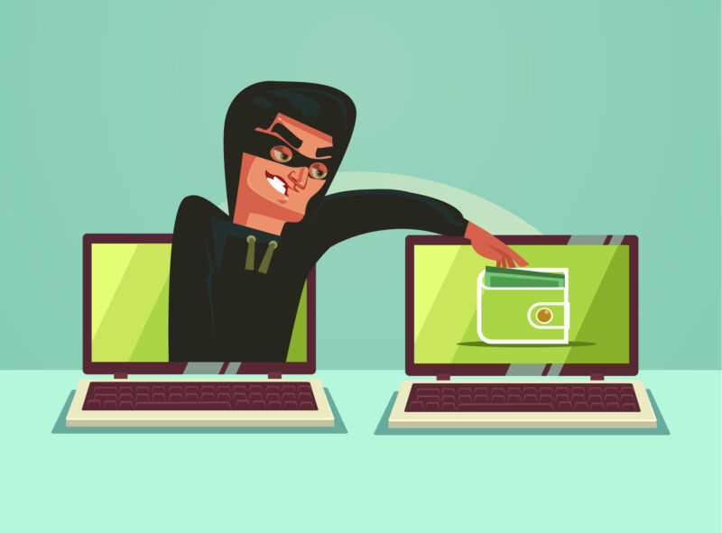 A cartoon depicts a thief emerged from one computer and reaching onto the screen of another.