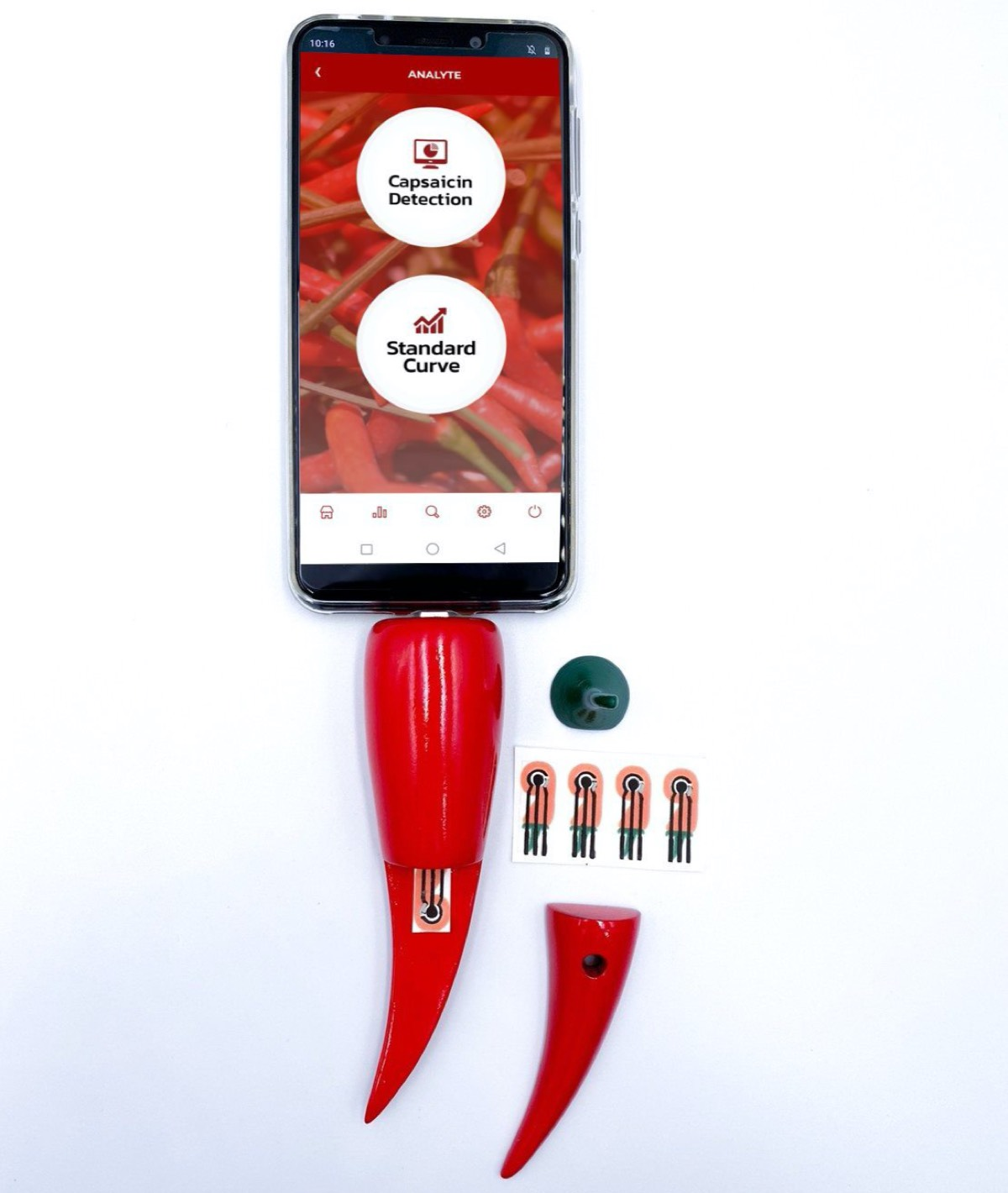 A chili pepper-shaped device containing a paper-based electrochemical sensor can be connected to a smart phone to reveal how much capsaicin is in a hot pepper.