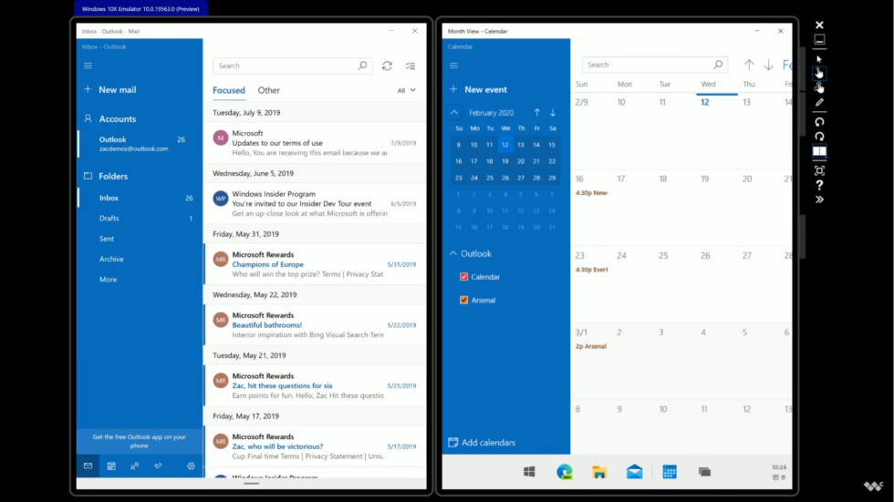 Windows 10x makes much better use of a wider screen than Android.