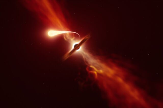 The artist's impression of a star, which is tidal broken by the powerful gravity of a supermassive black hole.