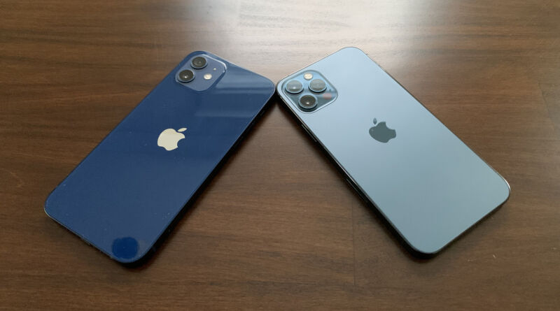 IPhone 12 and 12 Pro, side by side