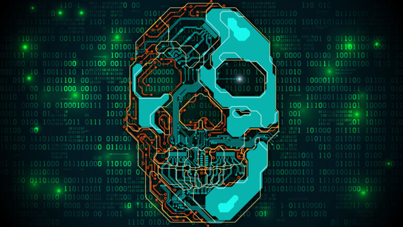 A stylized human skull over a wall of binary code.