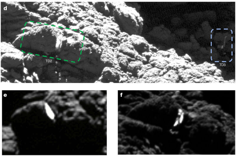 The close-ups highlight the bright ice exposed in the boulders when Philae struck them during its second touchdown (green box above).