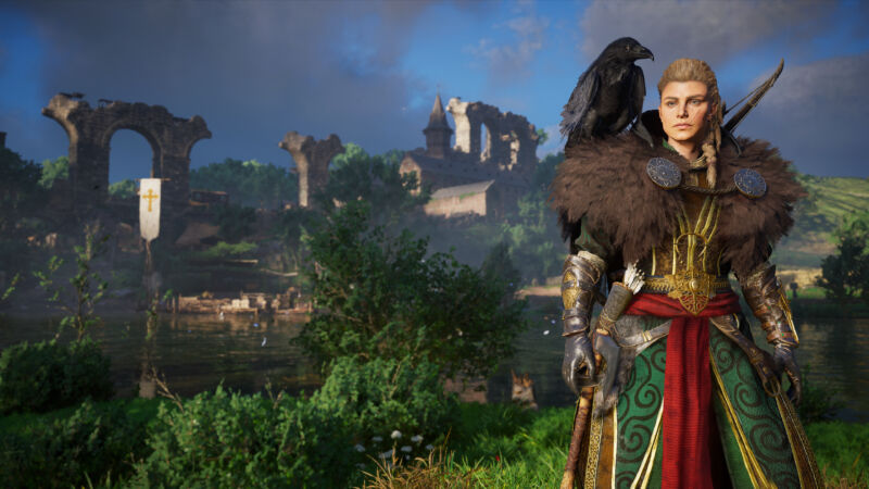 In <em>Assassin's Creed Valhalla</em>, Eivor reps the Raven Clan while storming 9th-century England the only way a Viking knows how: By swinging axes, making pals, and drinking mead.