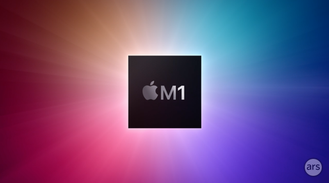 Graphic that represents the Apple M1 chip, as presented by Apple at an event earlier this month.