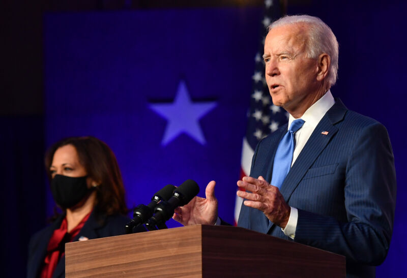 President-elect Joe Biden, accompanied by Vice President-elect Kamala Harris, delivers remarks at the Chase Center in Wilmington, Delaware, on November 6, 2020.