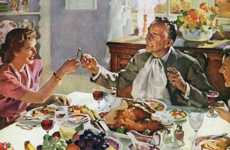 A Norman Rockwell (or Rockwell-esq) depiction of Thanksgiving gathering.