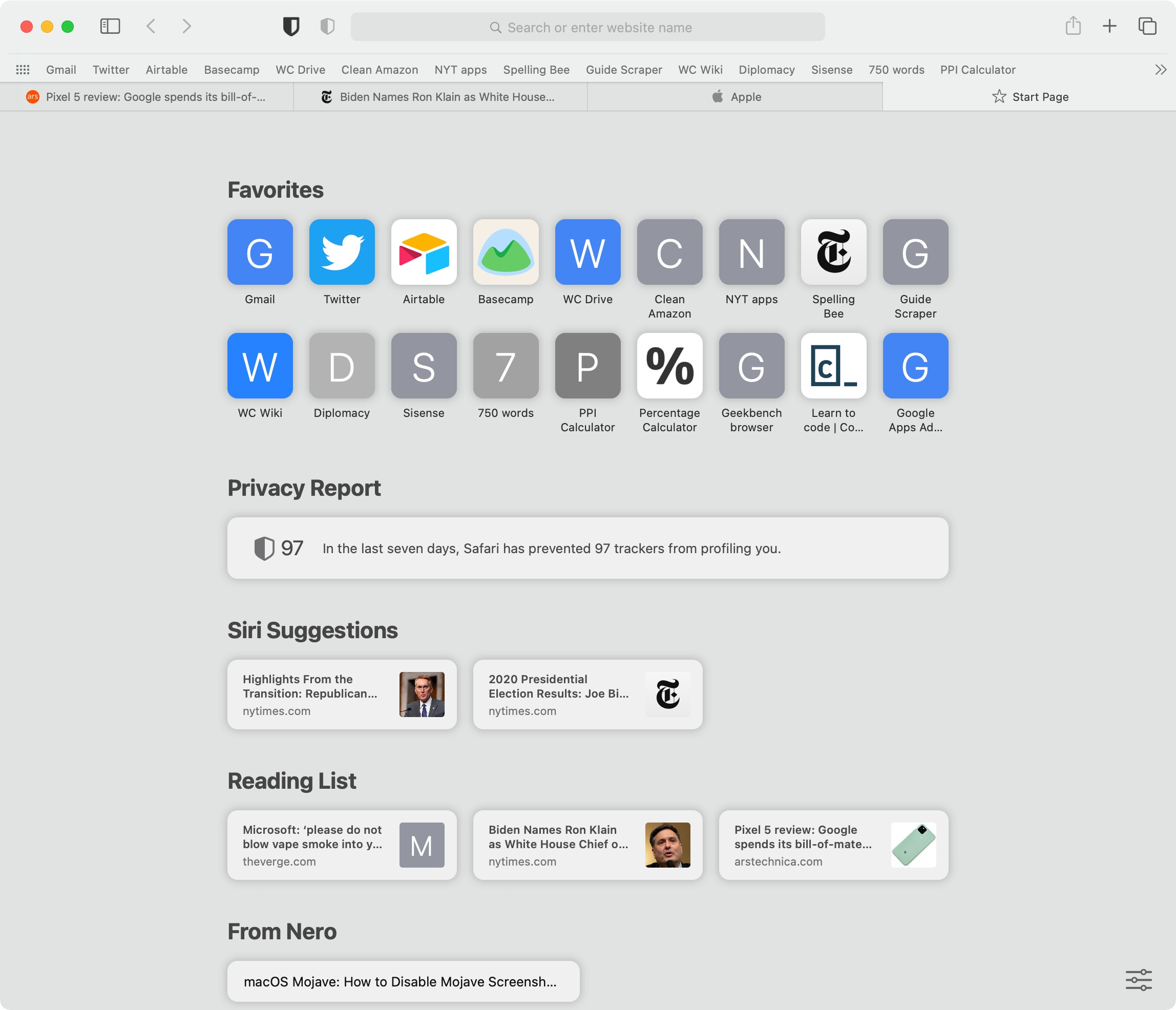 Safari's new new tab page. Favicons in tabs are now enabled by default!