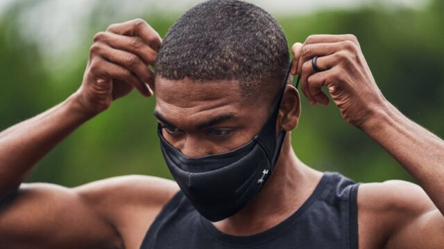 The UA Sportsmask features three layers of protection, water resistance, and breathability and a shape that keeps you from swallowing it with every gasp.