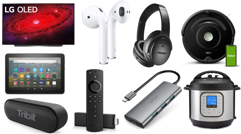 Collage of electronic consumer goods on a white background.
