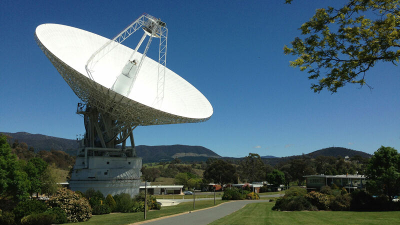 DSS43 is a 70-meter-wide radio antenna at the Deep Space Network's Canberra facility in Australia.