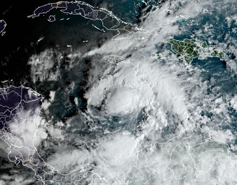 Tropical Storm Eta's satellite appearance on Sunday morning, Nov. 1.