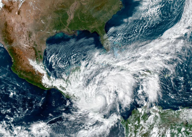 Satellite photo of hurricane entering Gulf of Mexico.