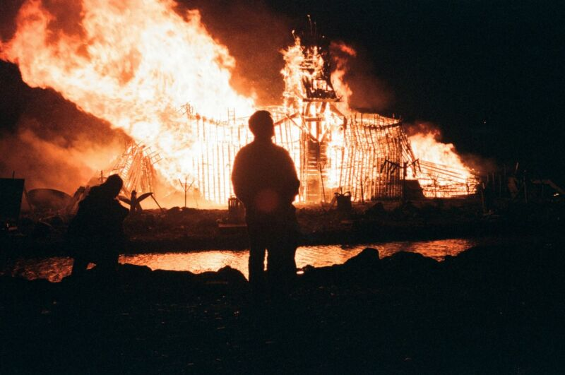 """Remember, remember the fifth of November"": a 1997 Bonfire Night in Skinningrove, North Yorkshire, England, commemorating Guy Fawkes and The Conspiracy of the Powders plot to blow up the English Parliament and King James I."