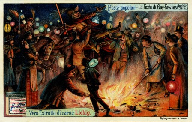 A 1904 Italian advertisement for Liebig's Meat Extract depicting a Guy Fawkes Day celebration.