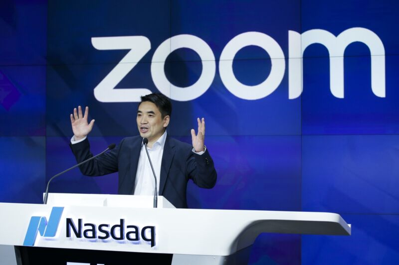 Zoom founder Eric Yuan speaking at Nasdaq.
