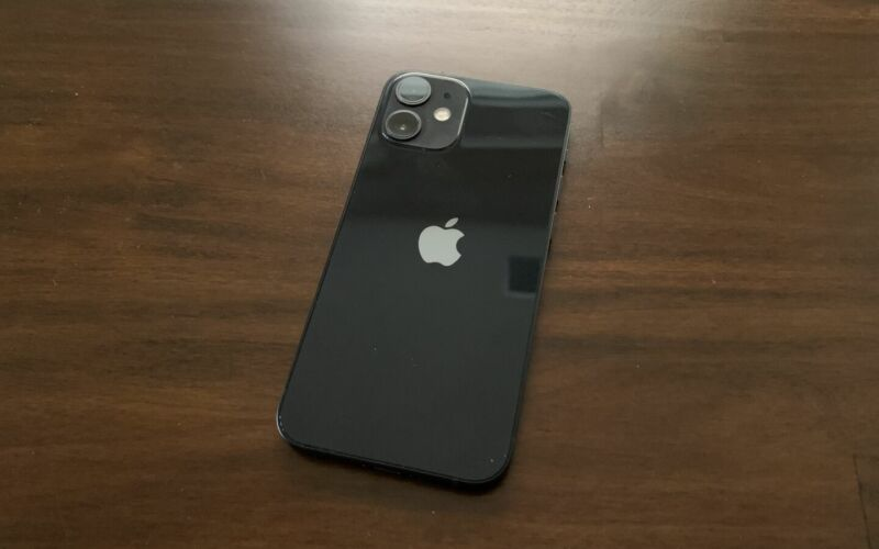 The iPhone 12 mini. iOS 14.2.1 fixes an issue that affected the lock screen on this phone.