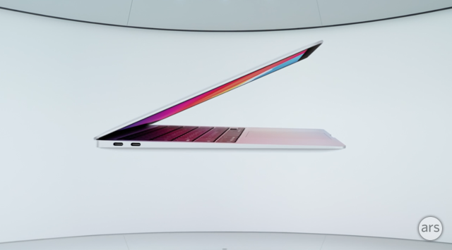 "The new Macbook Air with M1 is a 13"", completely fanless and silent design."