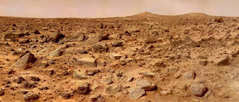 The Pathfinder rover took this photo. It didn't need oxygen, unlike the weak, fleshy humans that would like to follow its path.