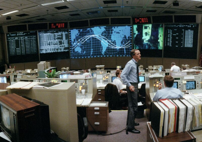 Flight Director James M. (Milt) Heflin, in Mission Control during the flight of STS-26 in 1988.