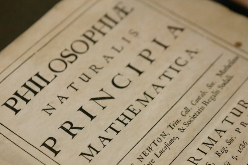 A copy of Isaac Newton's <em>Philosophiae Naturalis Principia Mathematica</em>, one of the most important scientific works ever written, housed at the Science Museum Library and Archives in Swindon, England.
