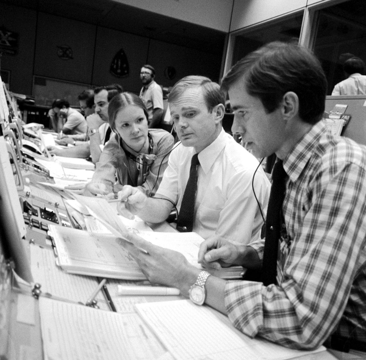 Astronaut Brewster H. Shaw Jr., right, Astronaut Roy D. Bridges Jr. and Marianne J. Dyson are pictured during STS-4 in 1983.