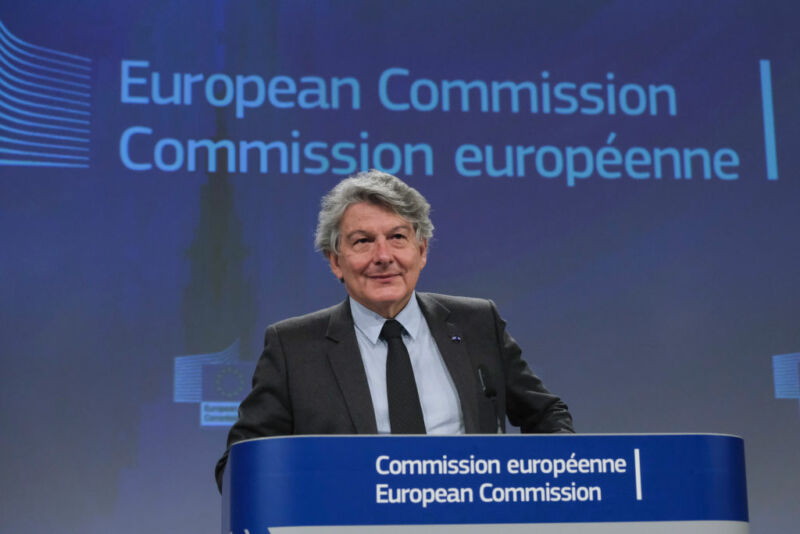 EU Commissioner for Internal Market Thierry Breton talks to media during a press conference in June.