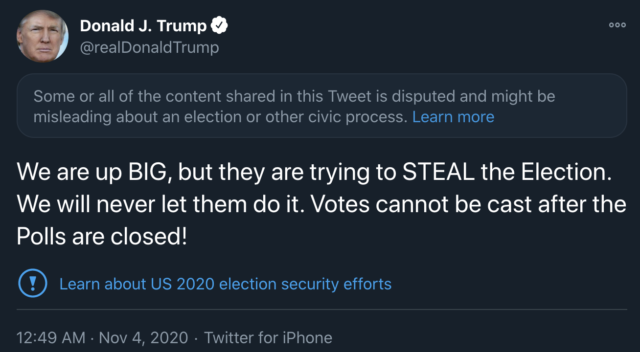Trump tweet and a disclaimer added by Twitter.
