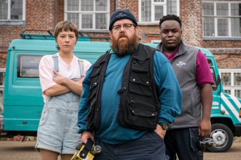 (l-r) Emma D'Arcy, Nick Frost, and Samson Kanyo star in <em>Truth Seekers</em>.
