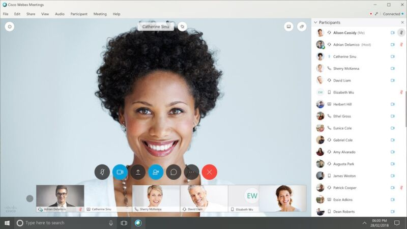 Promotional image for video-conferencing software.