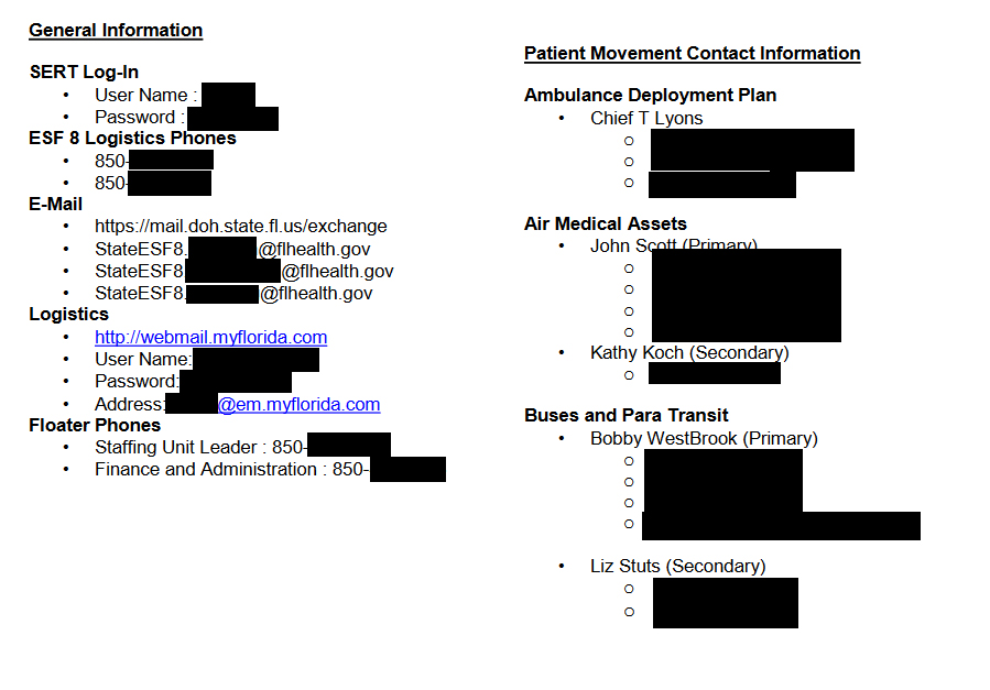 A redacted screenshot from a publicly available PDF showing the login information for ESF-8 communications systems. This is the kind of information you might tack up in your cubicle—not the kind of information you want all over the Internet.