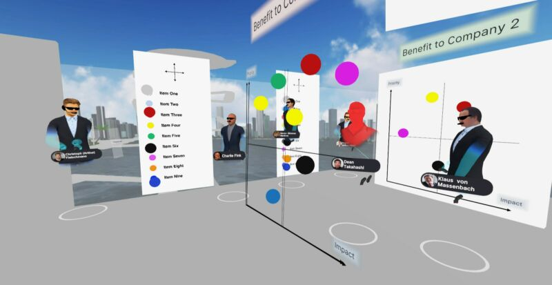 A virtual workspace is composed of heavily stylized floating heads and a permanent sunset.