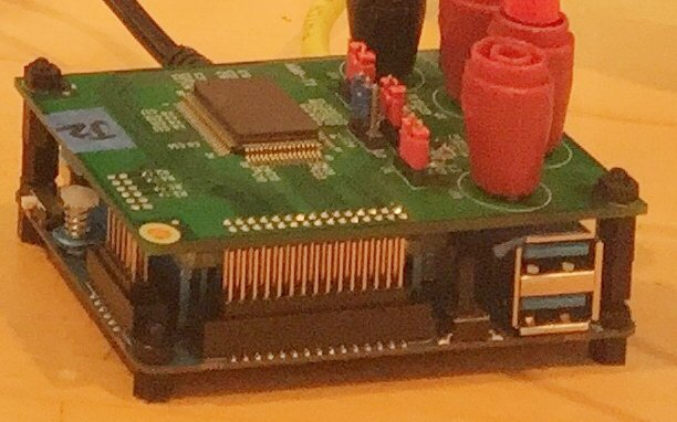 Grainy photograph of computer components.