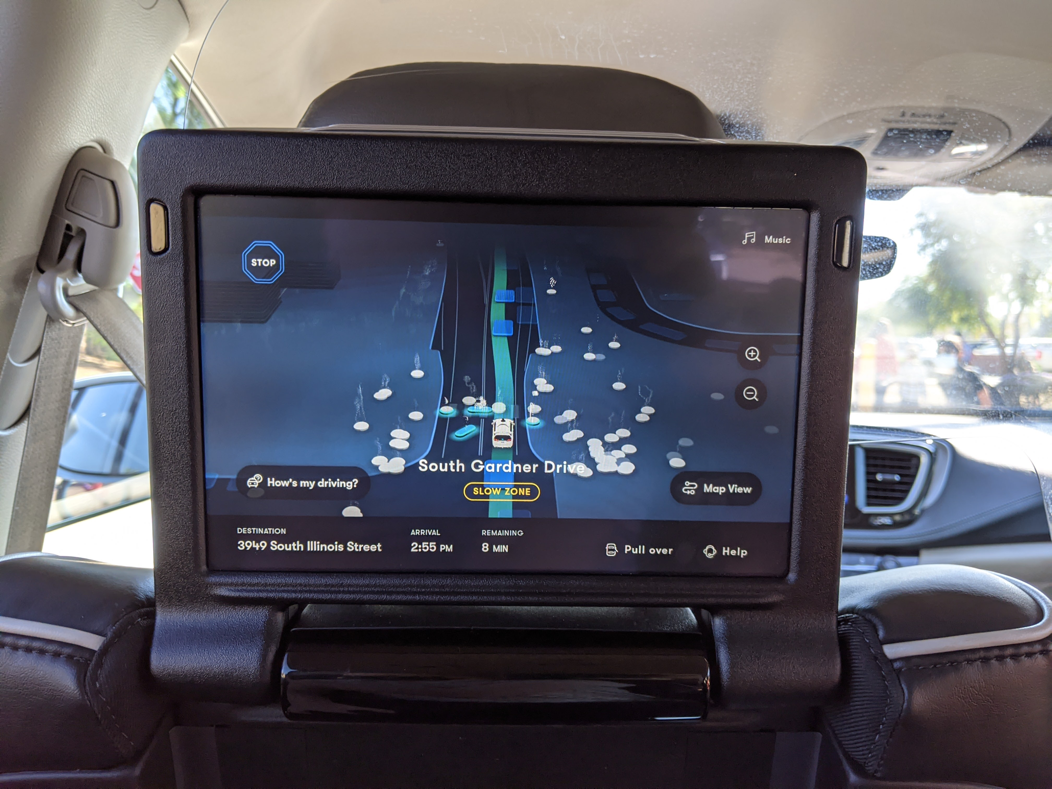 A seat-back display updates customers on the state of the ride.