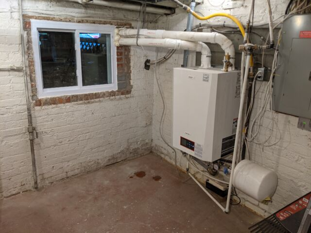 A condensing boiler is more efficient than a conventional boiler but it still produces a lot of carbon dioxide.