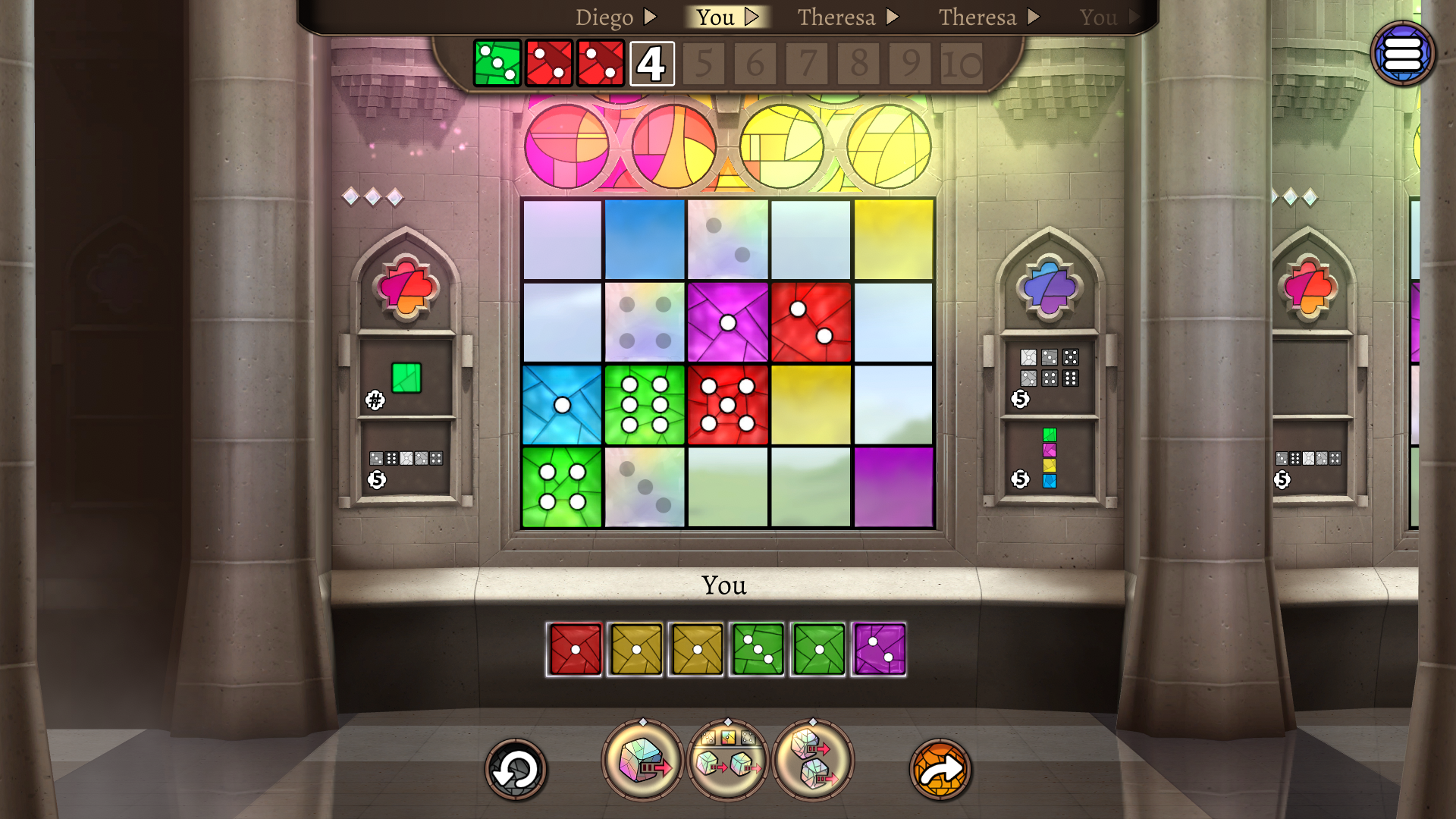 Draft dice to make the most beautiful stained glass window for your cathedral.