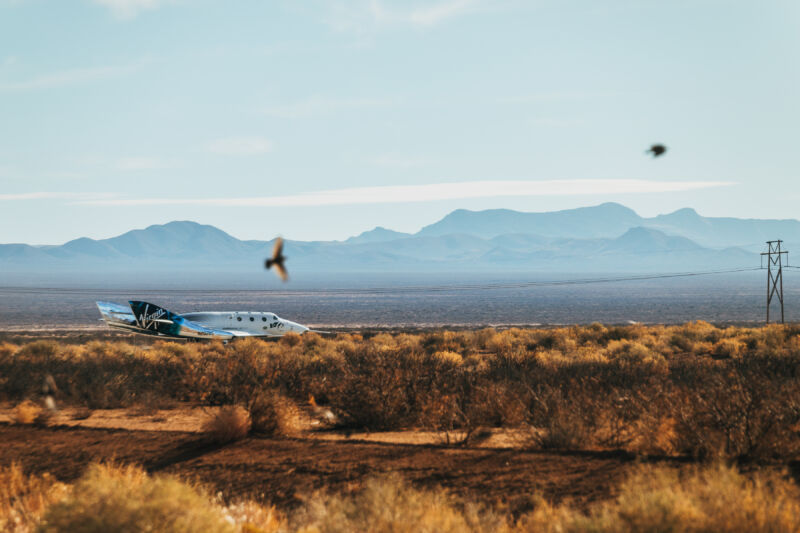 SpaceShipTwo Unity is seen shortly after landing in New Mexico on Saturday.