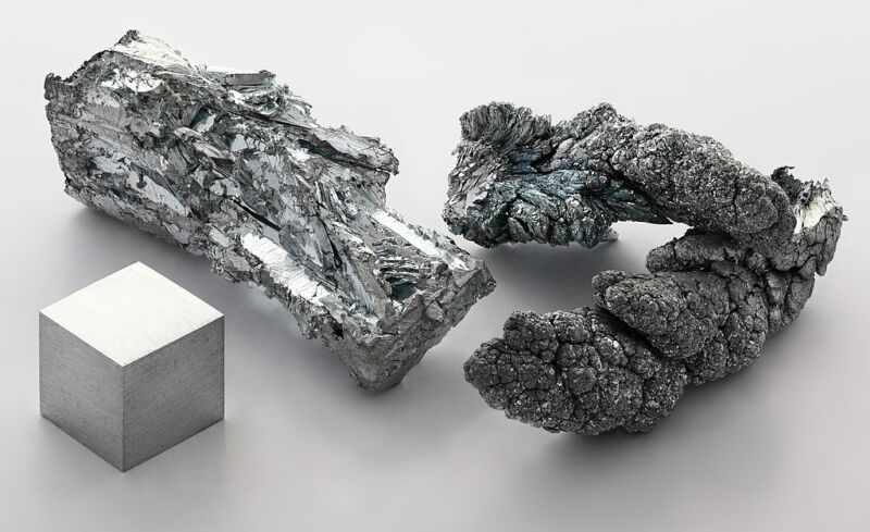 Image of three chunks of zinc metal.