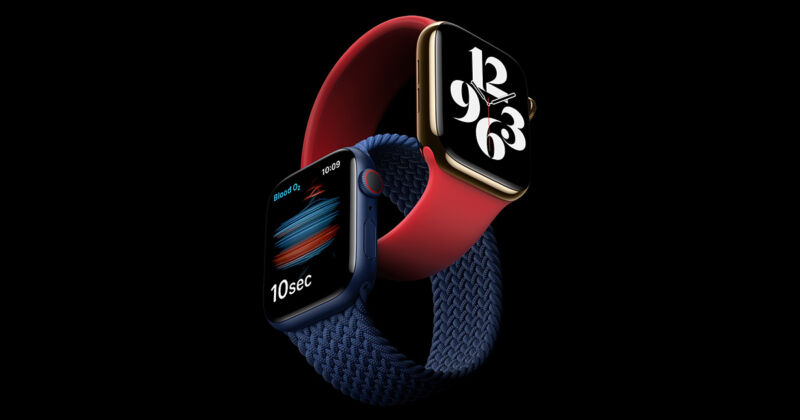 Two smartwatches are intertwined in this promotional image.